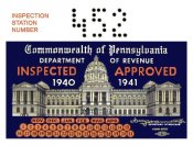 1940-41 Pennsylvania INSPECTION Sticker