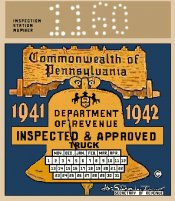 1941-42 Pennsylvania TRUCK Inspection Sticker