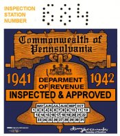 1941-42 ORIGINAL Pennsylvania Inspection Sticker