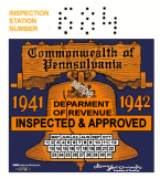 1941 Pennsylvania INSPECTION Sticker Liberty Bell