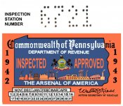 1942-43 PA inspection sticker ARSENAL