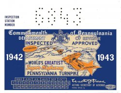 1942-43 Pennsylvania INSPECTION Sticker Tpk