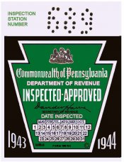 1943-44 Pennsylvania ORIGINAL Inspection Sticker