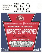 1943 Pennsylvania INSPECTION Sticker