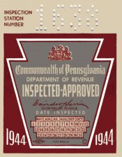 1944 Pensylvania INSPECTION Sticker