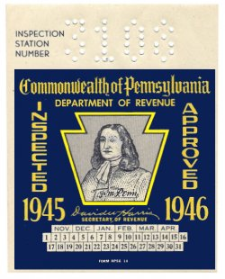1945-46 Pennsylvania INSPECTION Sticker