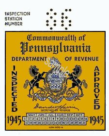 1945 Pennsylvania INSPECTION Sticker
