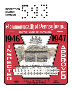 1946 Pennsylvania INSPECTION Sticker