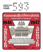 1946-47 Pennsylvania INSPECTION Sticker
