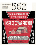 1947-48 Pennsylvania INSPECTION Sticker