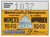 1949 Pennsylvania INSPECTION Sticker