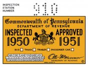 1950-51 Pennsylvania Inspection Sticker