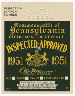1951 Pennsylvania INSPECTION Sticker