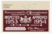 1953-54 Pennsylvania Inspection Sticker