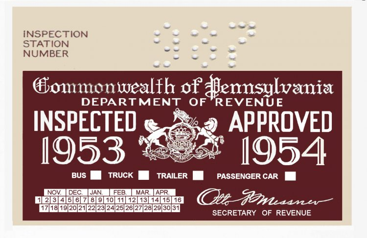 1953-54 Pennsylvania Inspection Sticker - Click Image to Close
