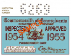 1954-55 Pensylvania INSPECTION Sticker
