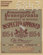 1954 Pennsylvania Inspection Sticker