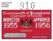 1955-56 Pennsylvania INSPECTION Sticker