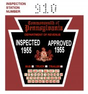 1955 Pennsylvania Truck Trailer Bus INSPECTION Sticker