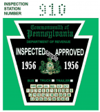 1956 PA Bus Truck Trailer Inspection Sticker