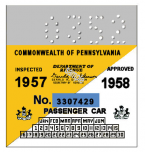 1957 Pennsylvania Inspection Sticker LATE SMALL