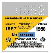1957-58 -2 Pennsylvania Inspection Sticker SMALL