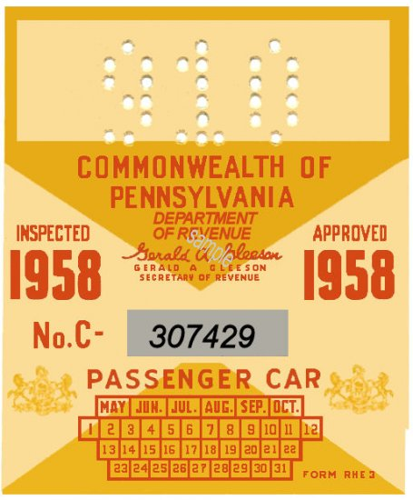1958 Pennsylvania ORIGINAL INSPECTION STICKER - Click Image to Close