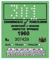 1960 Pennsylvania Truck INSPECTION Sticker