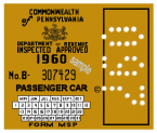 1960 Pennsylvania Inspection Sticker