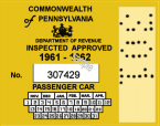 1961-62 Pennsylvania Inspection Sticker