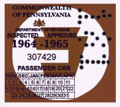 1964-65 Pennsylvania Inspection Sticker