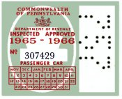 1965-66 Pennsylvania INSPECTION Sticker