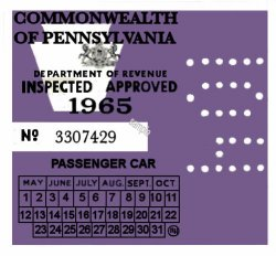 1965 Pennsylvania INSPECTION Sticker