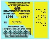 1966-67 Pennsylvania INSPECTION Sticker