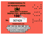 1966 Pennsylvania Inspection Sticker