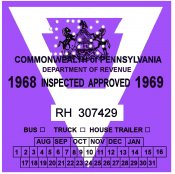 1968-69 Pennsylvania TRUCK Inspection Sticker