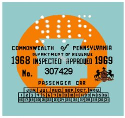 1969 Pennsylvania INSPECTION Sticker Blue
