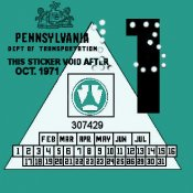 1971-1 Pennsylvania Inspection Sticker