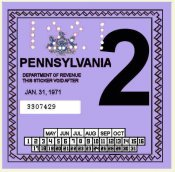 1971-2 Pennsylvania INSPECTION Sticker