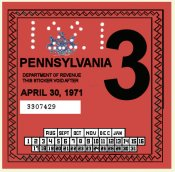 1971-3 Pennsylvania Inspection Sticker