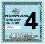 1971-4 Pennsylvania Inspection Sticker