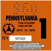 1972-1 Pennsylvania Inspection Sticker