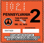 1972-2 Pennsylvania INSPECTION Sticker