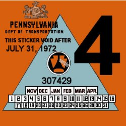 1972-4 Pennsylvania Inspection Sticker