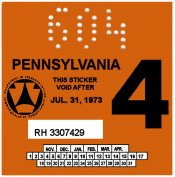 1973-4 Pennsylvania INSPECTION Sticker