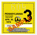 1974-3 Pennsylvania INSPECTION Sticker