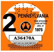 1975-2 Pennsylvania INSPECTION Sticker