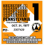 1977-1 Pennsylvania Inspection Sticker
