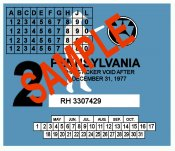 1977-2 Pennsylvania INSPECTION Sticker