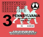 1977-3 Pennsylvania INSPECTION Sticker